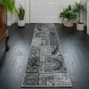 Black Grey Traditional Patchwork Living Room Rug - Milan