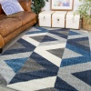 Navy Grey Modern Geometric Living Room Runner Rug - Vivid