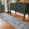 Teal Distressed Traditional Runner Rug - Vivid