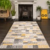 Yellow Grey Textured Striped Living Room Rug - Milan