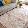 Terracotta Vintage Distressed Flat Low Pile Area Rug - Abella