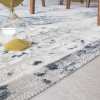 Blue Traditional Distressed Flat Low Pile Hall Runner Rug - Abella