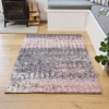 Blush Distressed Textured Shaggy Rug - Florence