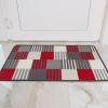 Red Grey Geometric Washable Rug