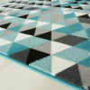 Teal Blue Geometric Diamond Living Room Rug - Milan