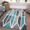 Geometric Teal Grey Living Room Rug - Milan