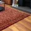 Burnt Orange Mottled Shaggy Hall Runner Rug - Murano