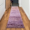 Light Purple Mottled Striped Shaggy Hall Runner Rug - Murano