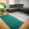 Modern Emerald Green Abstract Distressed Living Room Rugs - Enzo