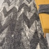 Silver Grey Chevron Mottled Shaggy Living Room Rug - Murano