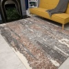 Brown Grey Distressed Mottled Shaggy Living Room Rug - Murano