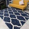 Blue Trellis Mottled Shaggy Living Room Rug - Murano
