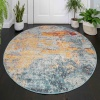 Round Circle Gold Blue Distressed Living Room Rug - Oscar