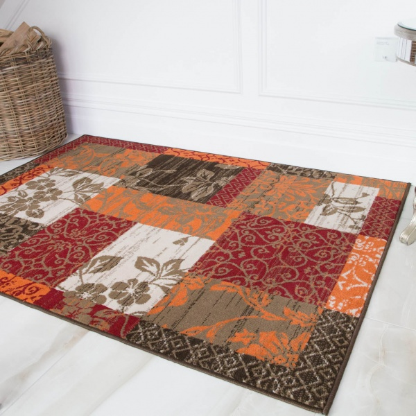 Terracotta Red Warm Patchwork Living Room Rug - Milan