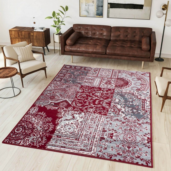 Red Traditional Patchwork Living Room Rug - Milan