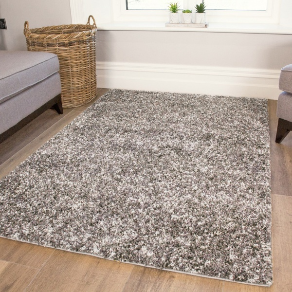 Silver Shaggy Rug for Living Room - Murano