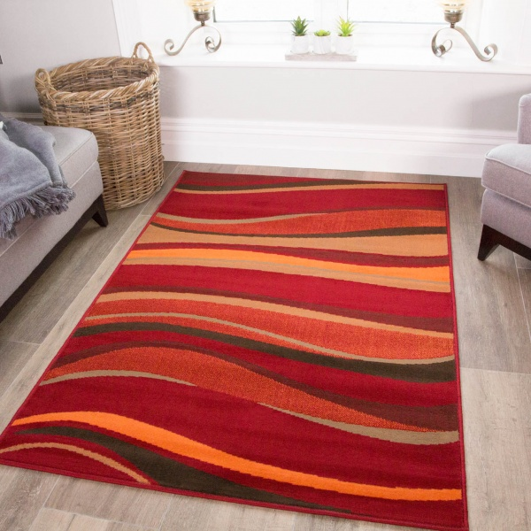 Living Room Red and Brown Waves Rug - Milan
