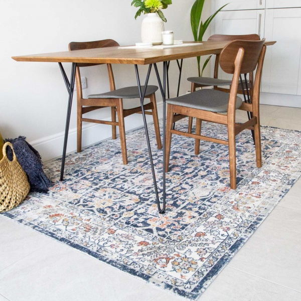 Blue Traditional Distressed Flat Low Pile Area Rug - Abella