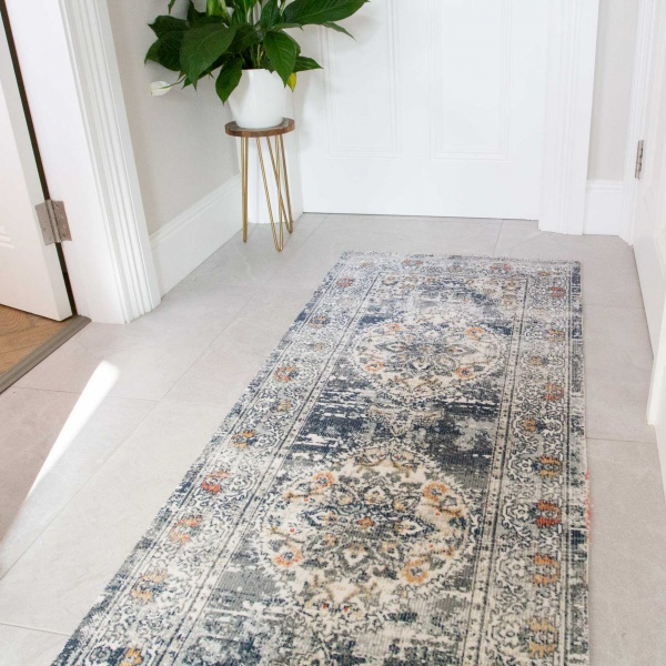 Blue Oriental Distressed Flat Zero Pile Hall Runner Rug - Abella
