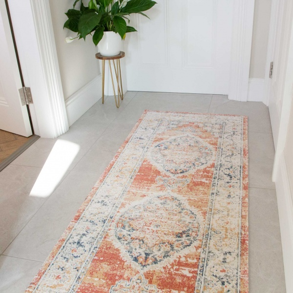 Terracotta Vintage Distressed Flat Low Pile Hall Runner Rug - Abella