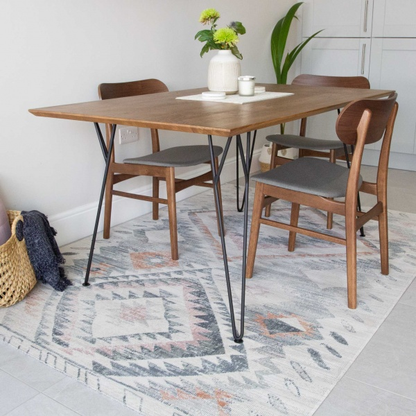 Terracotta Tribal Distressed Flat Zero Pile Area Rug - Abella