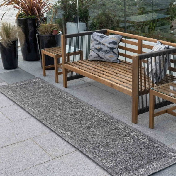 Grey Distressed Oriental Weatherproof Outdoor Garden Runner Rug - Adana