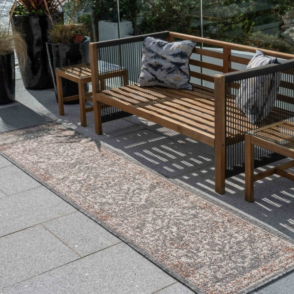 Grey Terracotta Distressed Oriental Weatherproof Outdoor Garden Runner Rug - Adana