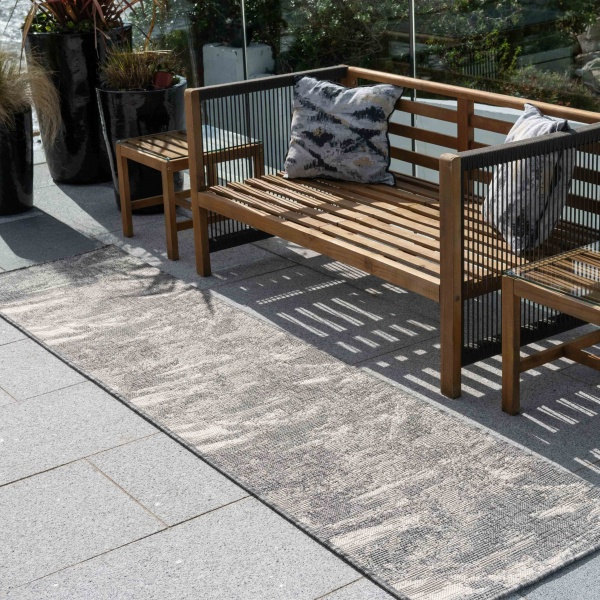 Modern Grey Distressed Weatherproof Outdoor Garden Runner Rug - Adana