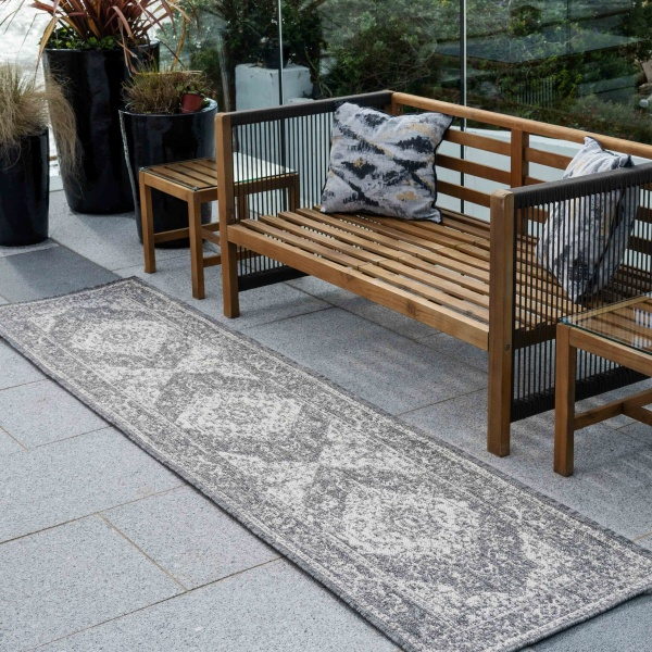 Grey Distressed Weatherproof Outdoor Garden Runner Rug - Adana