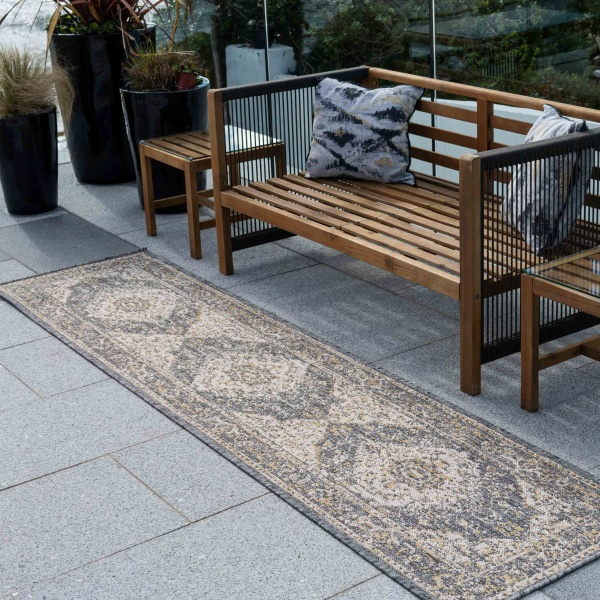 Grey Gold Distressed Weatherproof Outdoor Garden Runner Rug - Adana