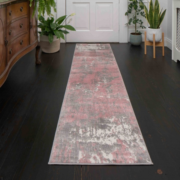 Modern Blush Pink Distressed Hall Runner Rugs - Enzo
