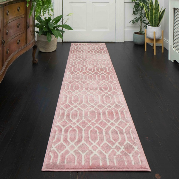 Modern Blush Pink Geometric Hall Runner Rugs - Enzo