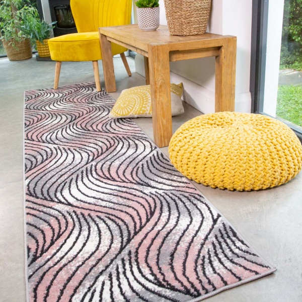 Mottled Blush Wave Pattern Runner Rug - Enzo
