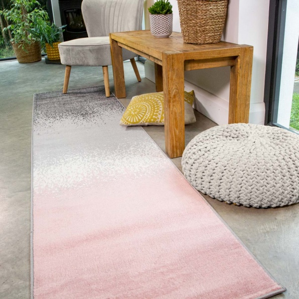 Modern Pink Distressed Striped Runner Rug - Enzo