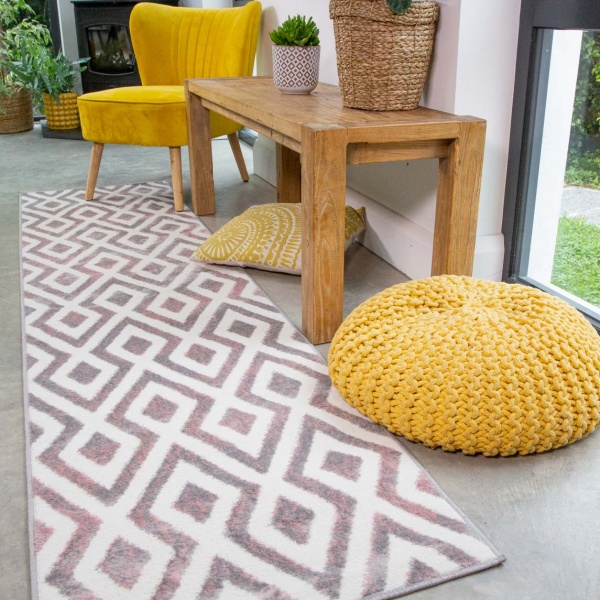 Geometric Pink Ombre Runner Rug - Enzo