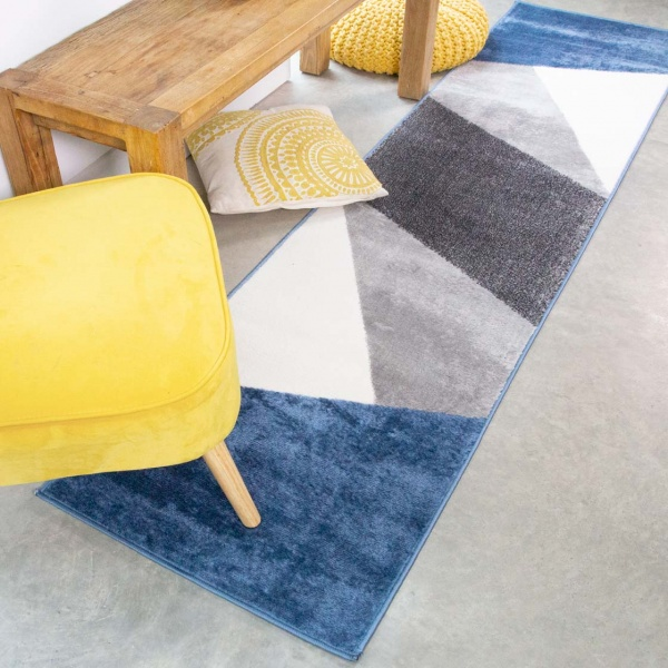 Blue Abstract Geometric Runner Rug - Enzo