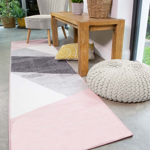 Pink Abstract Geometric Runner Rug - Enzo
