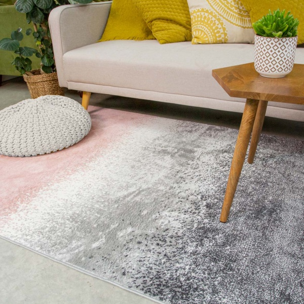 Modern Pink Distressed Striped Living Room Rug - Enzo