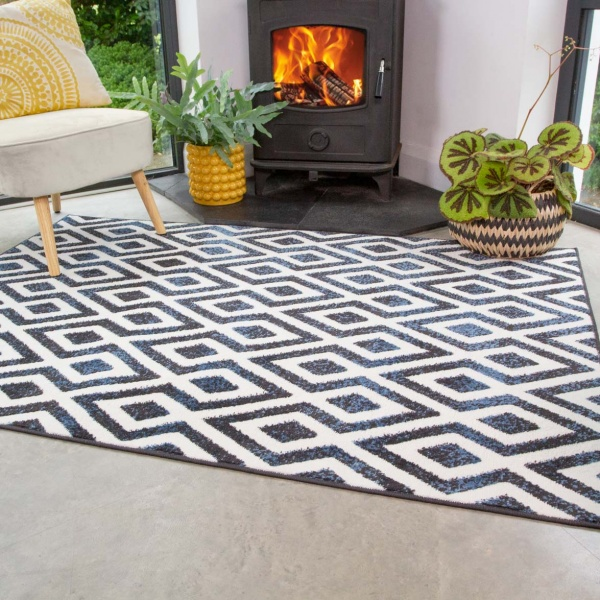 Geometric Blue Ombre Living Room Rug - Enzo