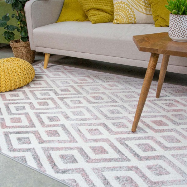 Geometric Pink Ombre Living Room Rug - Enzo