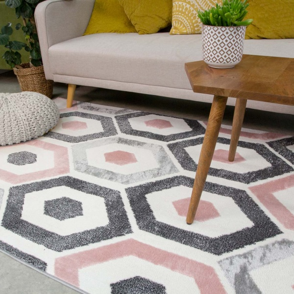 Pink Geometric Honeycomb Living Room Rug - Enzo