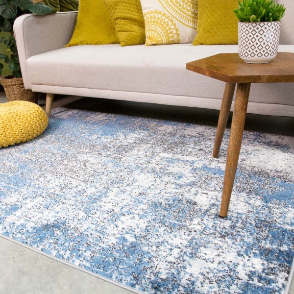 Modern Blue Abstract Distressed Living Room Rug - Enzo