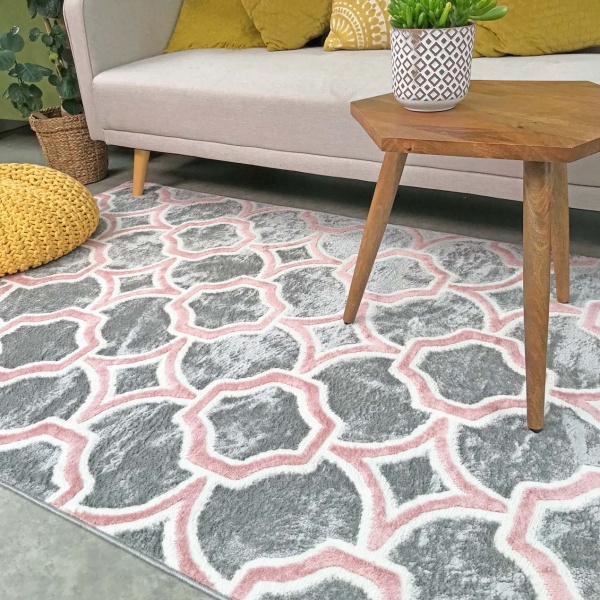 Modern Grey Blush Trellis Living Room Rug - Enzo