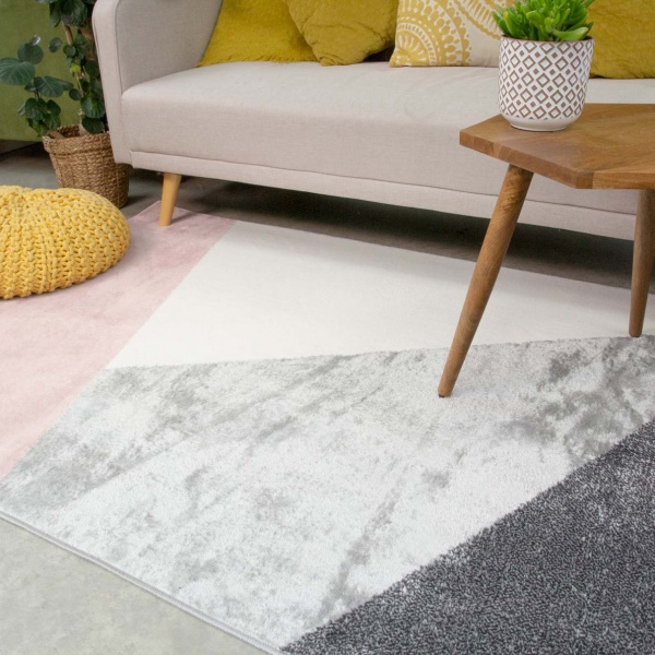 Pink Abstract Geometric Living Room Rug - Enzo