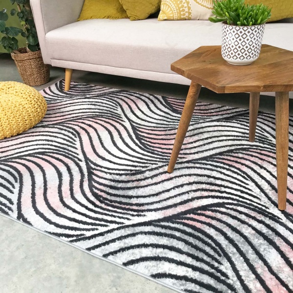 Mottled Blush Wave Pattern Living Room Rug - Enzo
