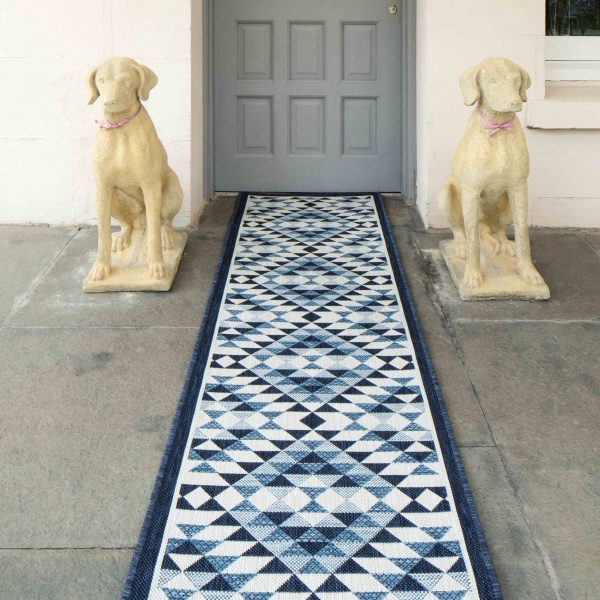 Navy Blue Geometric Diamond Weatherproof Outdoor BBQ Area Runner Rug - Florida