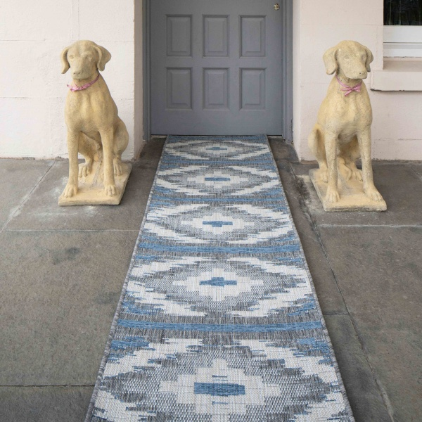 Teal Blue Retro Aztec Weatherproof Outdoor Garden Runner Rug - Florida