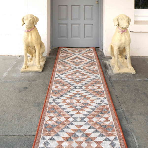 Terracotta Geometric Diamond Weatherproof Outdoor Patio Area Runner Rug - Florida