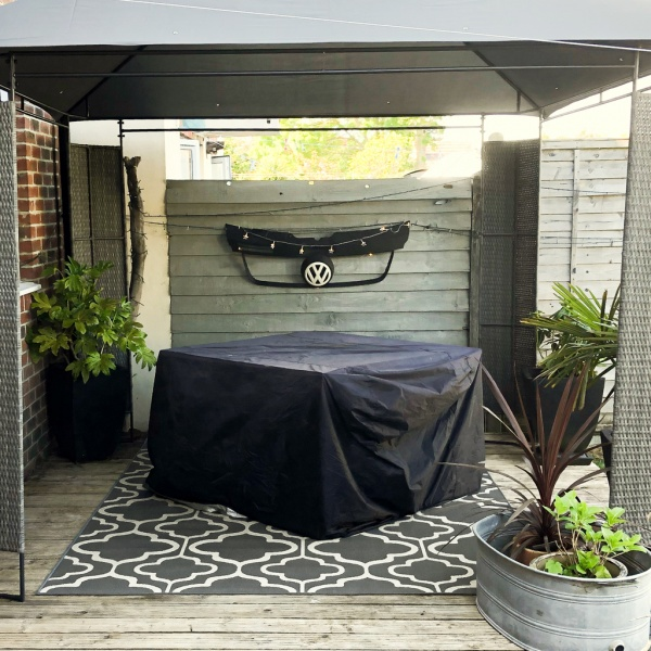 Grey Trellis Outdoor Rug - Habitat