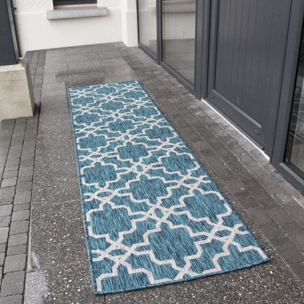 Blue Flatweave Outdoor Runner Rug - Habitat